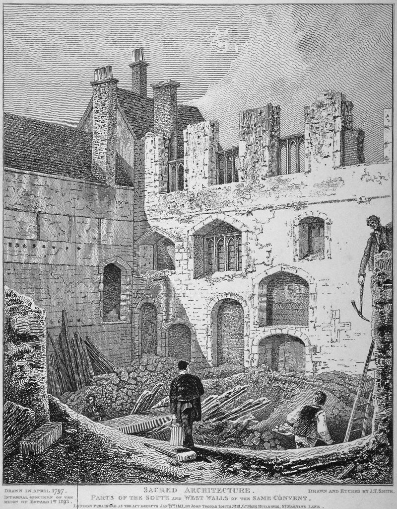 Detail of Ruins of the Church of St Clare Minoressess without Aldgate, City of London by John Thomas Smith