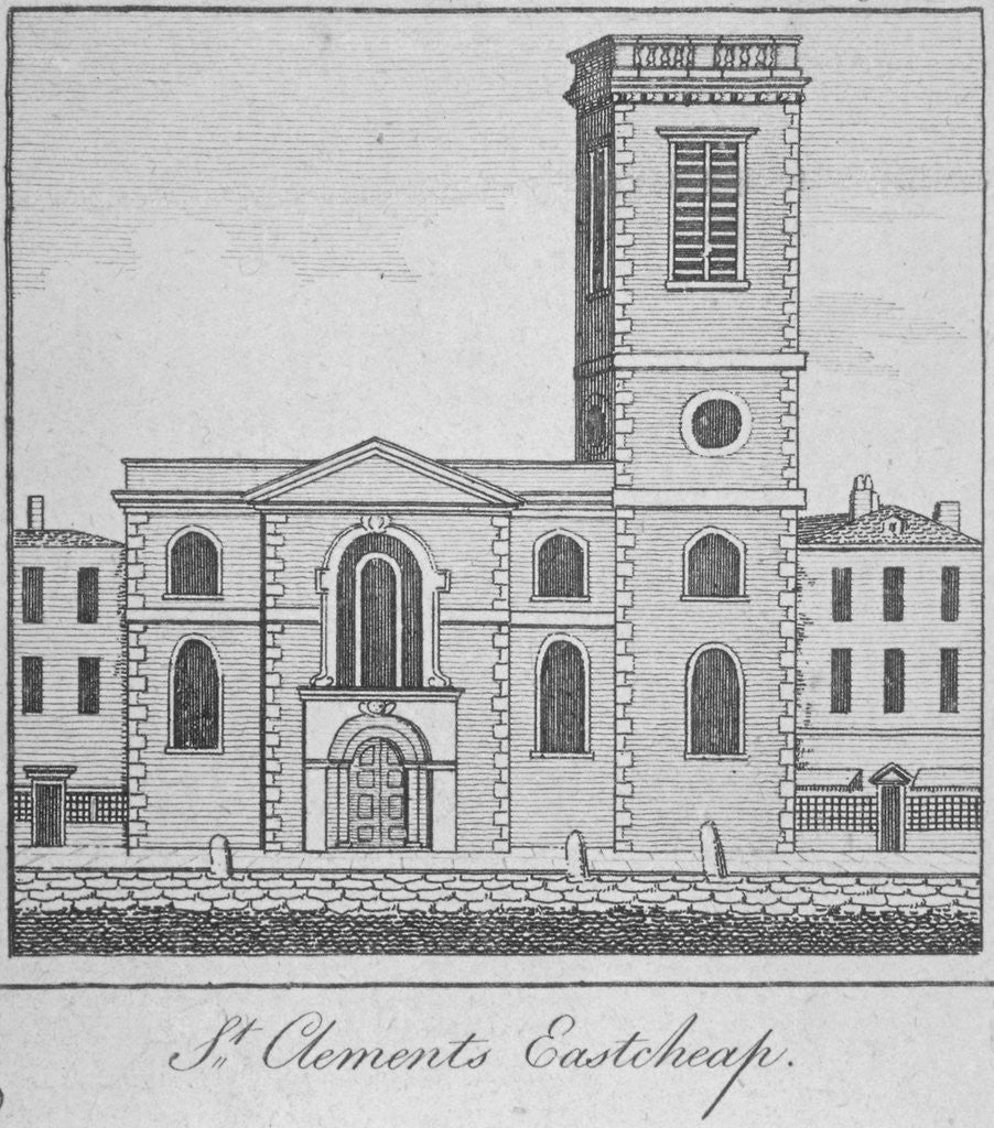 Detail of West view of the Church of St Clement, Eastcheap, City of London by