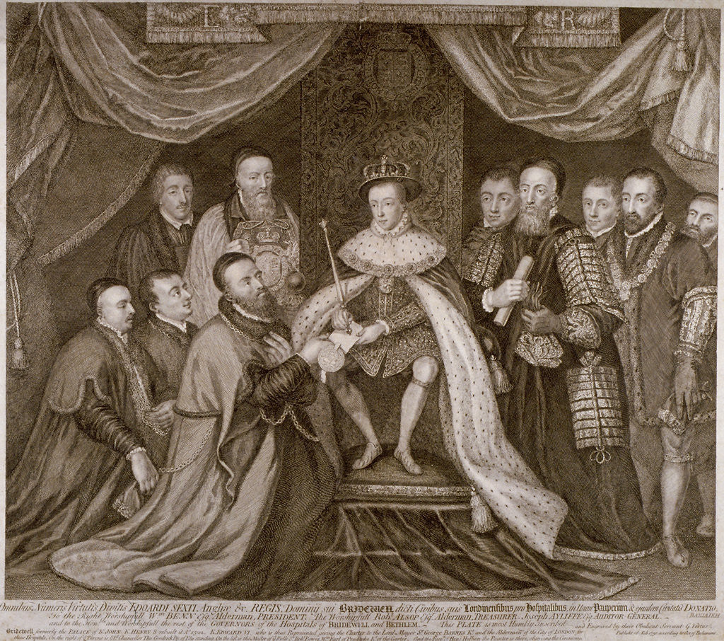 Detail of Edward VI signing a charter giving Bridewell to the City of London for a workhouse, 1552 (1750) by George Vertue