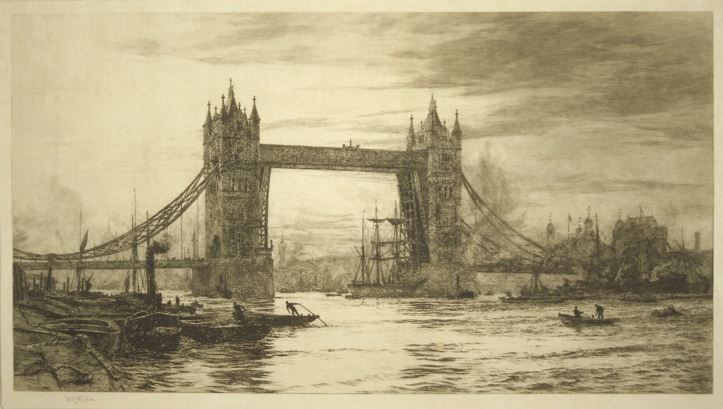 Detail of Tower Bridge viewed from the River Thames, London by William Lionel Wyllie