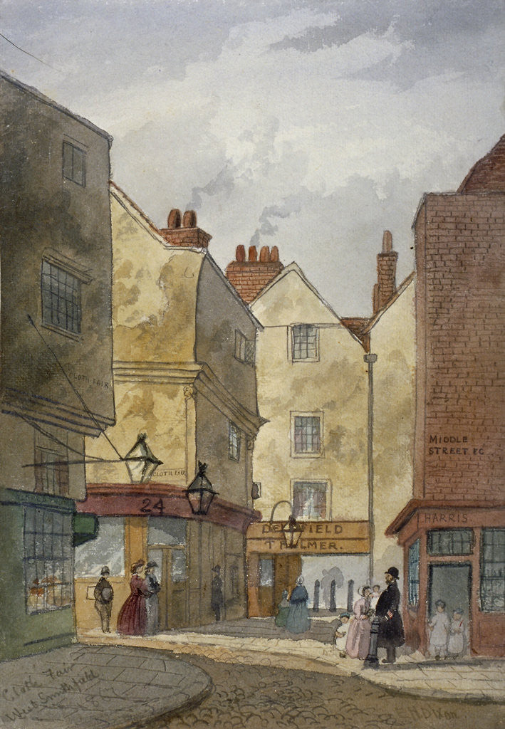 Detail of View of Cloth Fair and Middle Street, West Smithfield, City of London by EH Dixon