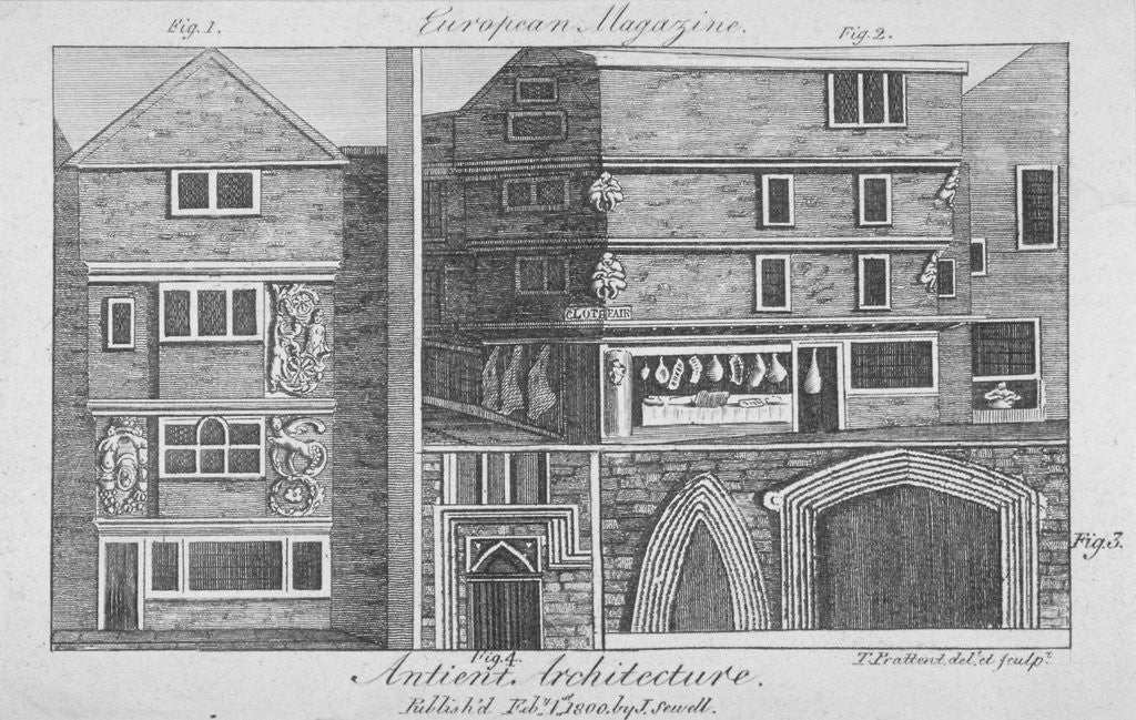 Detail of Four views of architectural features on buildings in Cloth Fair, Smithfield, City of London by Thomas Prattent