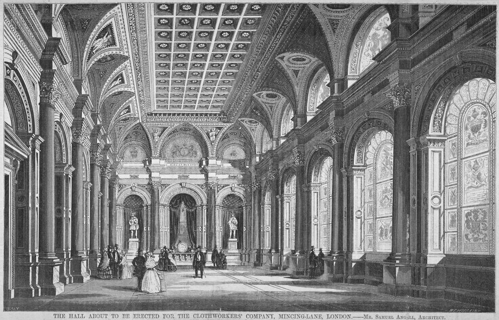 Detail of Interior view of the Clothworkers' Hall, Mincing Lane, City of London by Anonymous