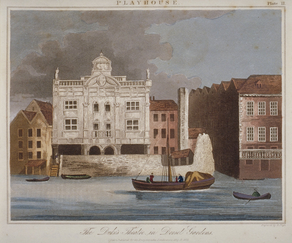 Detail of The Duke's Theatre, Dorset Gardens, from the River Thames, City of London by