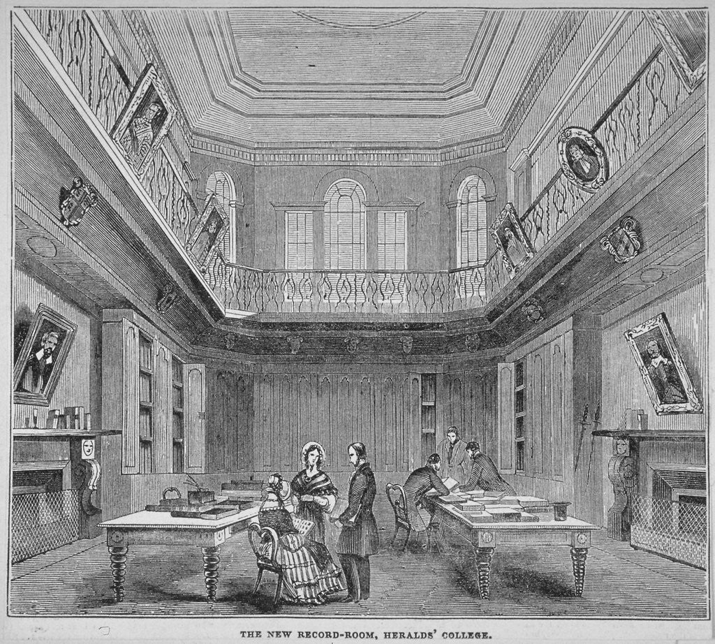 Detail of Interior view of the New Record Room at the College of Arms, City of London by Anonymous