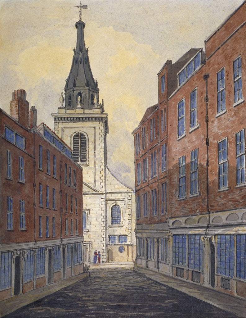 Detail of Church of St Edmund the King viewed from Clement's Lane, City of London by Anonymous