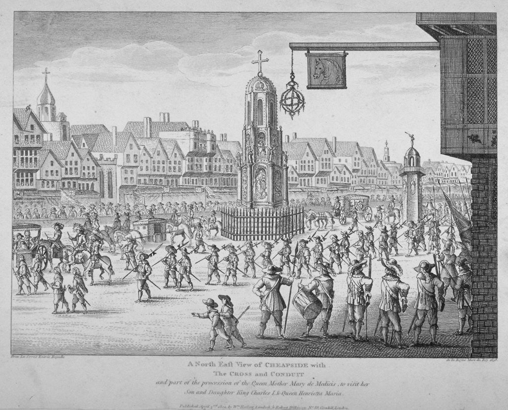Detail of View of the procession of Marie de Medici along Cheapside, City of London, 1638 (1809) by