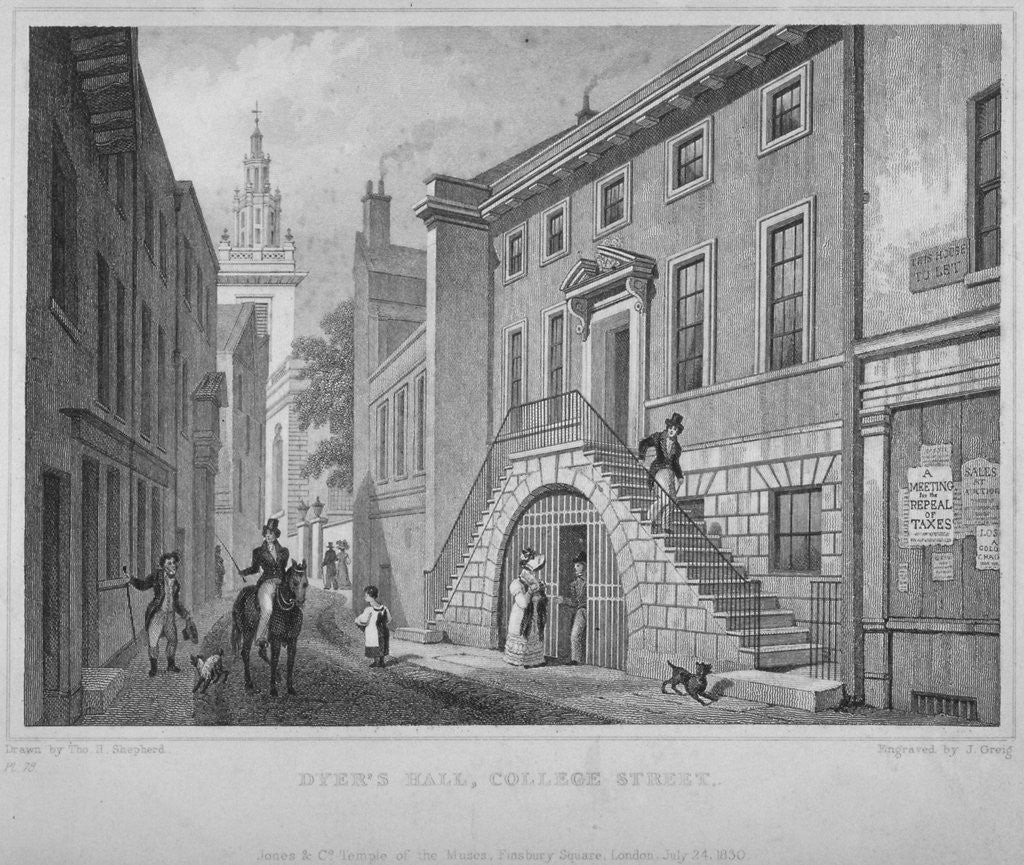 Detail of View of the Dyers' Hall, College Street, City of London by John Greig