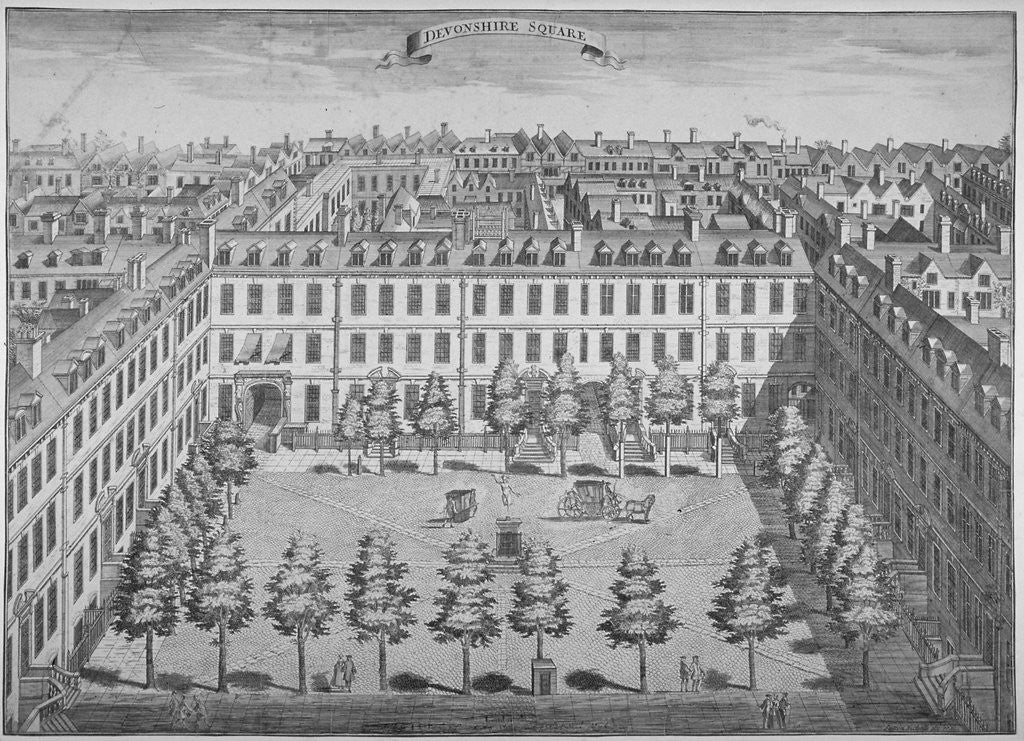 Detail of Bird's-eye view of Devonshire Square, City of London by Sutton Nicholls