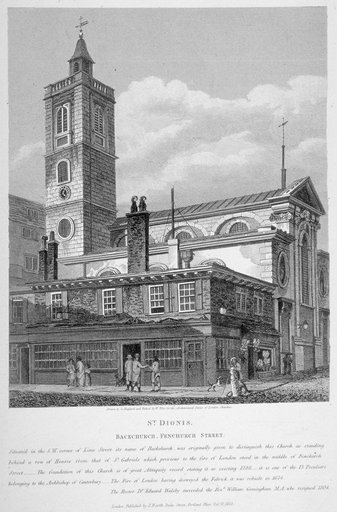 Detail of View of St Dionis Backchurch from Fenchurch Street, City of London by William Wise