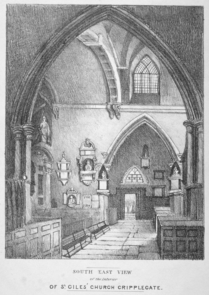 Detail of South-east view of the interior of the Church of St Giles without Cripplegate, City of London by Anonymous