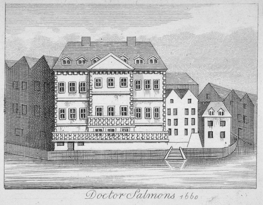 Detail of View of Dr Salmon's house on the Fleet River, City of London by Anonymous