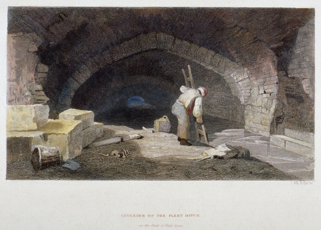 Detail of Interior of the Fleet Ditch at the back of Field Lane, City of London by John Wykeham Archer