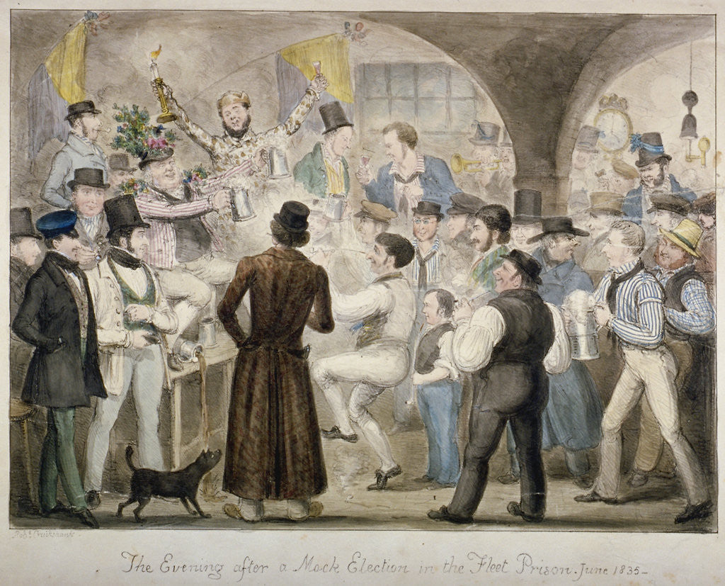 Detail of The evening after a mock election in the Fleet Prison, June 1835' by