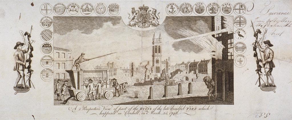 Detail of View of fire engines extinguishing a fire in Cornhill, City of London, 25 March 1748 by Anonymous