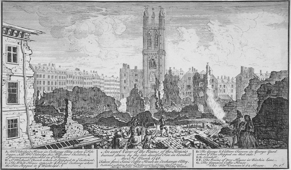 Detail of Ruins of houses burnt down in a fire in Cornhill, City of London, 25 March by Anonymous