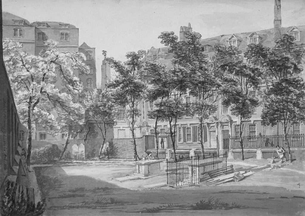Detail of Churchyard, Fenchurch Street, City of London by Robert Blemmell Schnebbelie