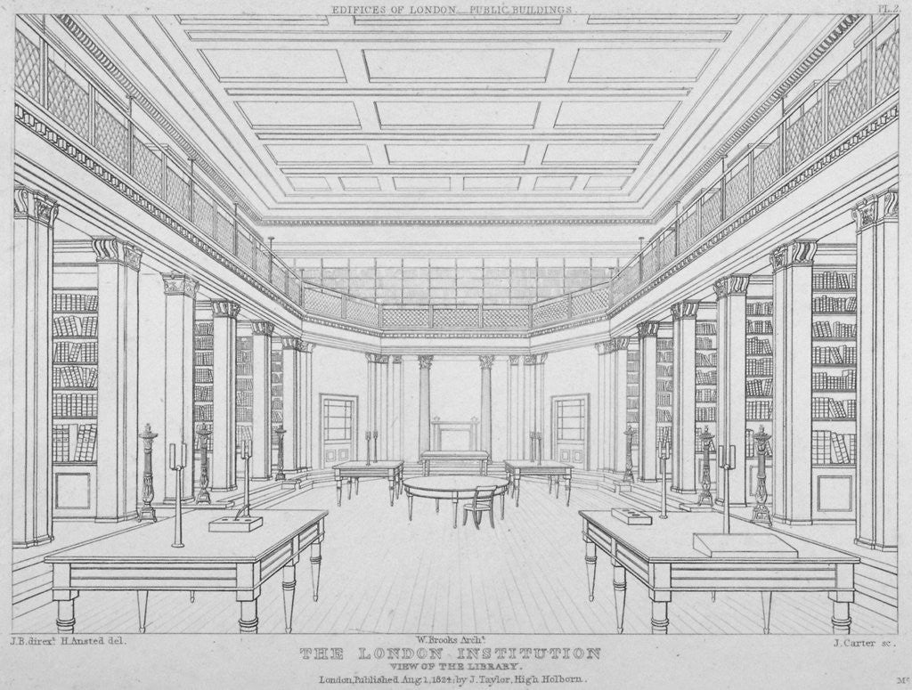 Detail of Interior view of the library in the London Institution, Finsbury Circus, City of London by James Carter
