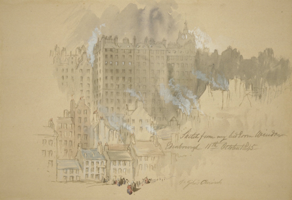 Detail of Edinburgh from the Artist's Room by Sir John Gilbert