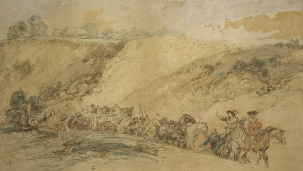 Detail of Army Waggons in a Ravine by