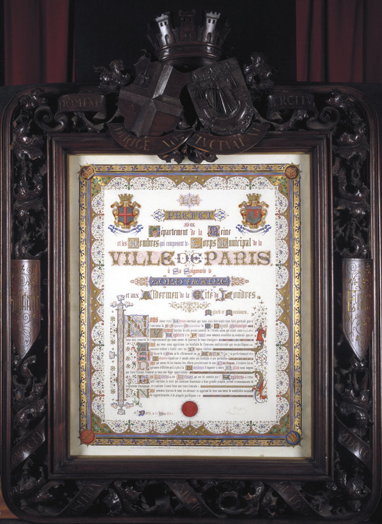 Detail of Illuminated vote of thanks from the Mayor of Paris to the Lord Mayor of London, 13 August 1852 by JP Leon la Rue