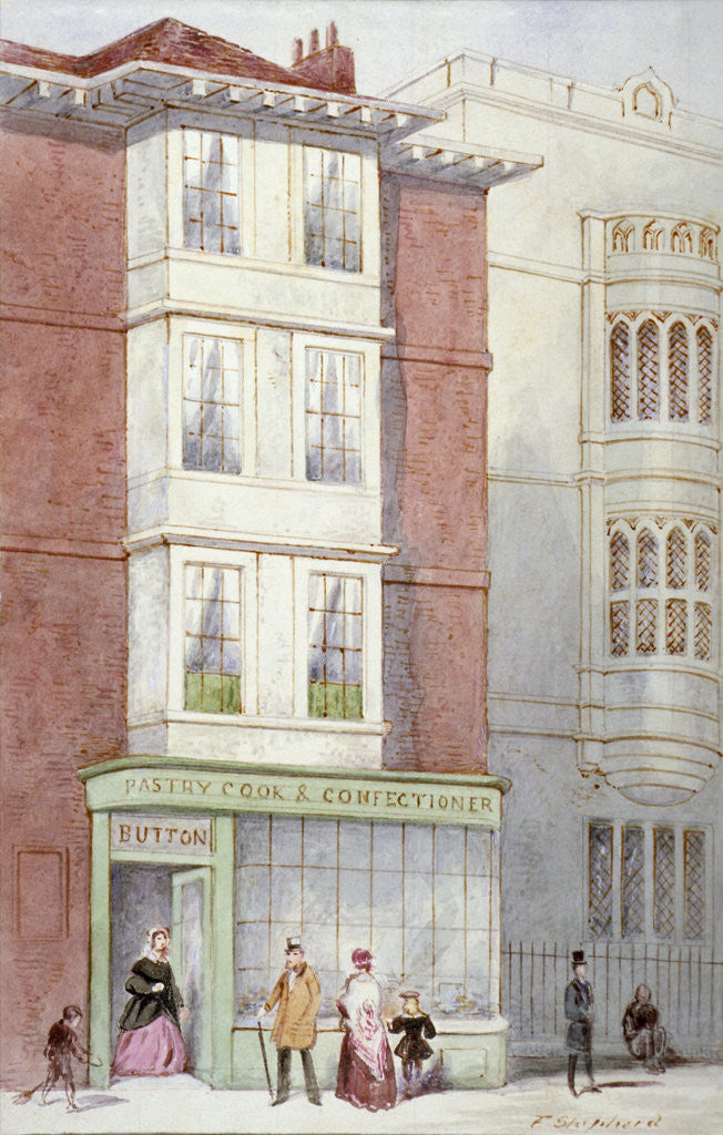 Detail of Button's pastry and confectionery shop, 187 Fleet Street, City of London by Frederick Napoleon Shepherd