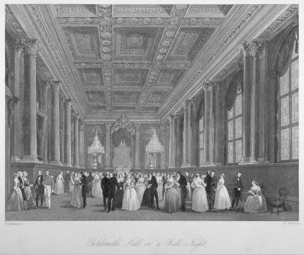 Detail of Interior view of the Goldsmiths' Hall on a ball night, City of London by Harden Sidney Melville