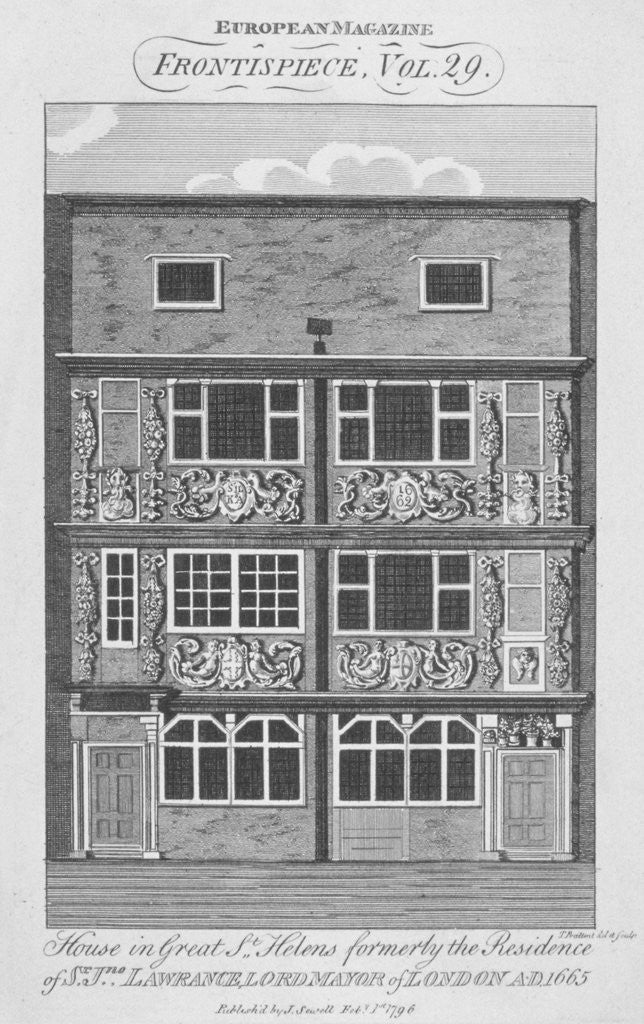 Detail of View of a house in Great St Helens, City of London by