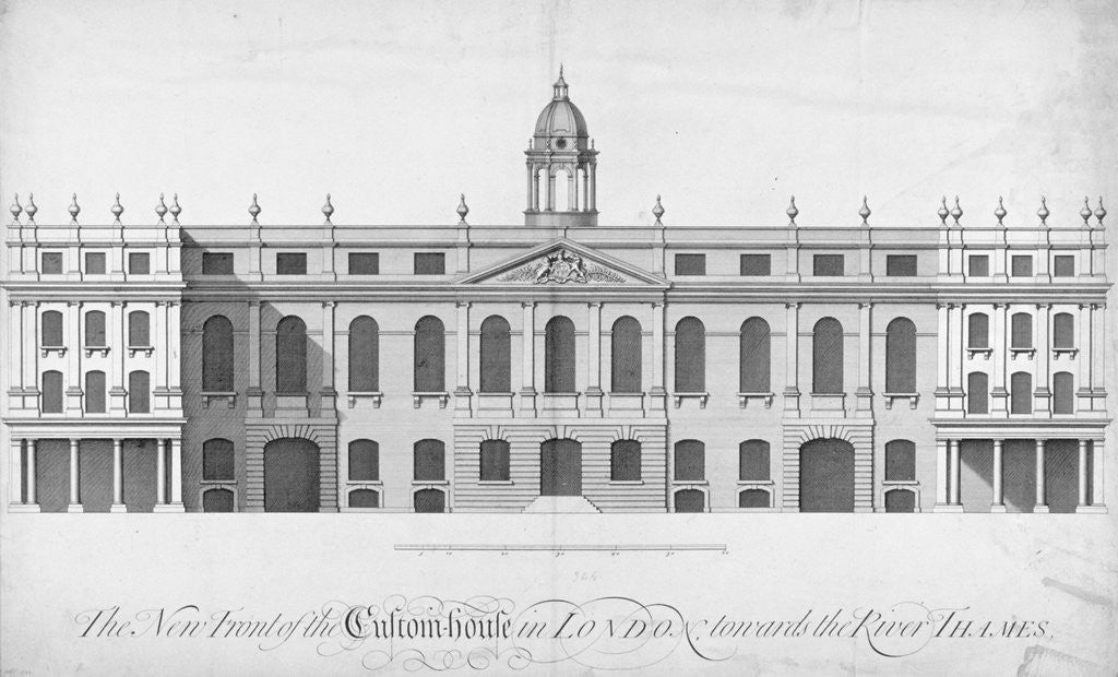 Detail of View of the new Custom House, rebuilt after the fire of 1718, City of London by