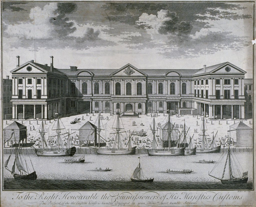 Detail of The Custom House from the River Thames, as it was in 1714 by John Harris