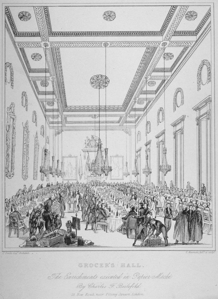 Detail of Interior of Grocers' Hall during a banquet, City of London by T Kearnan