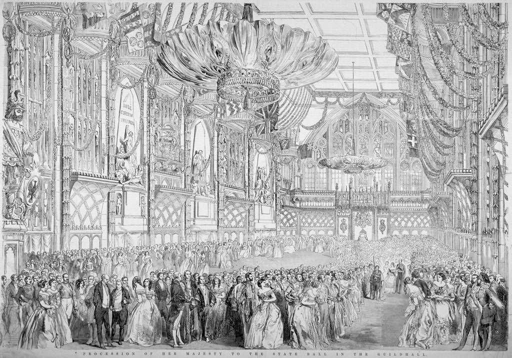 Detail of Procession of Queen Victoria to the State Ball in the Guildhall, City of London by John Abraham Mason
