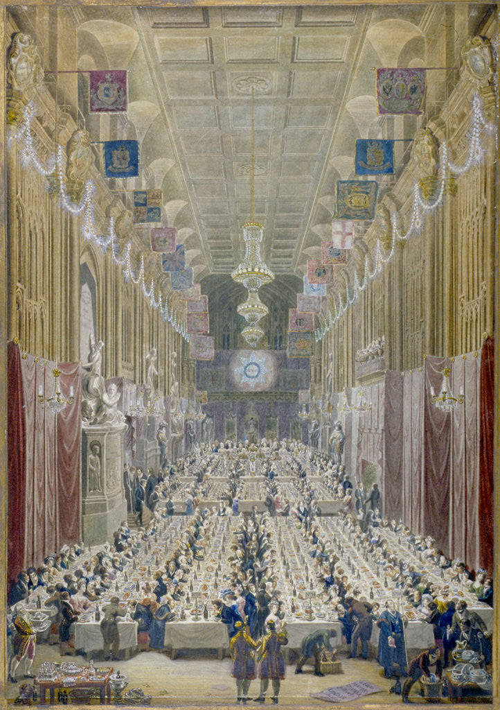 Detail of View of the Lord Mayor's Dinner at the Guildhall, City of London by George Scharf