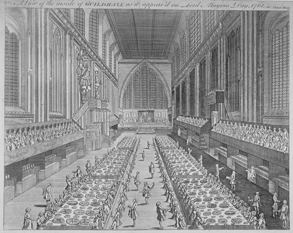 Detail of Interior view of the Guildhall on Lord Mayor's Day, City of London by Anonymous
