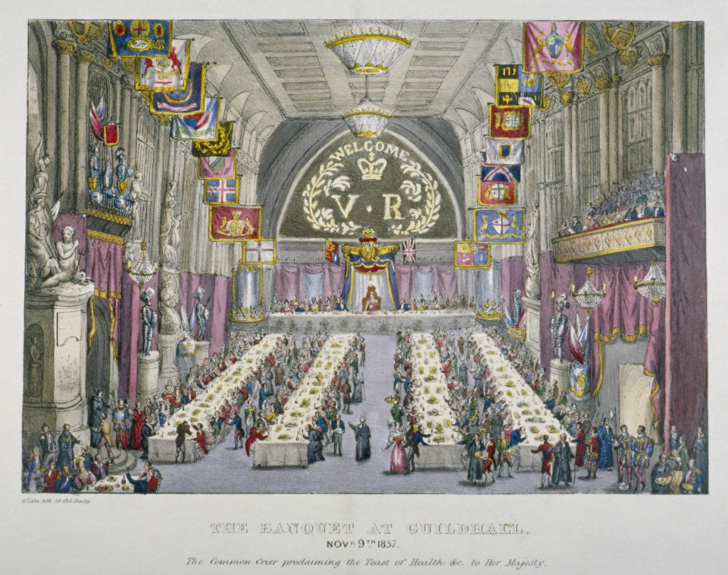 Detail of Banquet in the Guildhall in honour of Queen Victoria, City of London by Anonymous