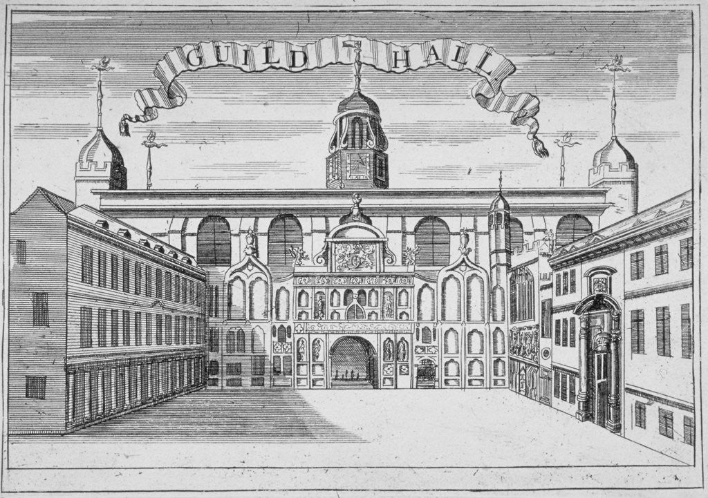 Detail of Front view of the Guildhall, looking north across Guildhall Yard, City of London by Anonymous