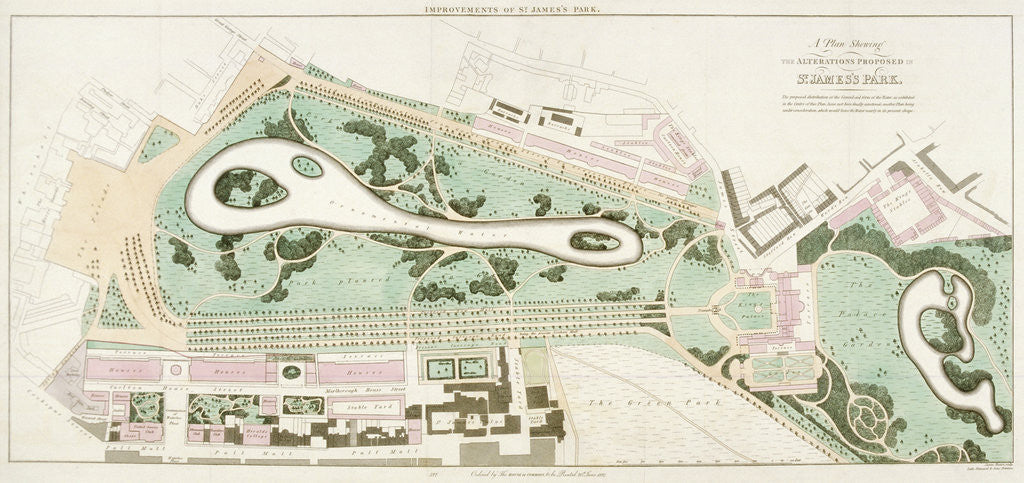 Detail of Plan of St James's Park, Westminster, London by Anonymous