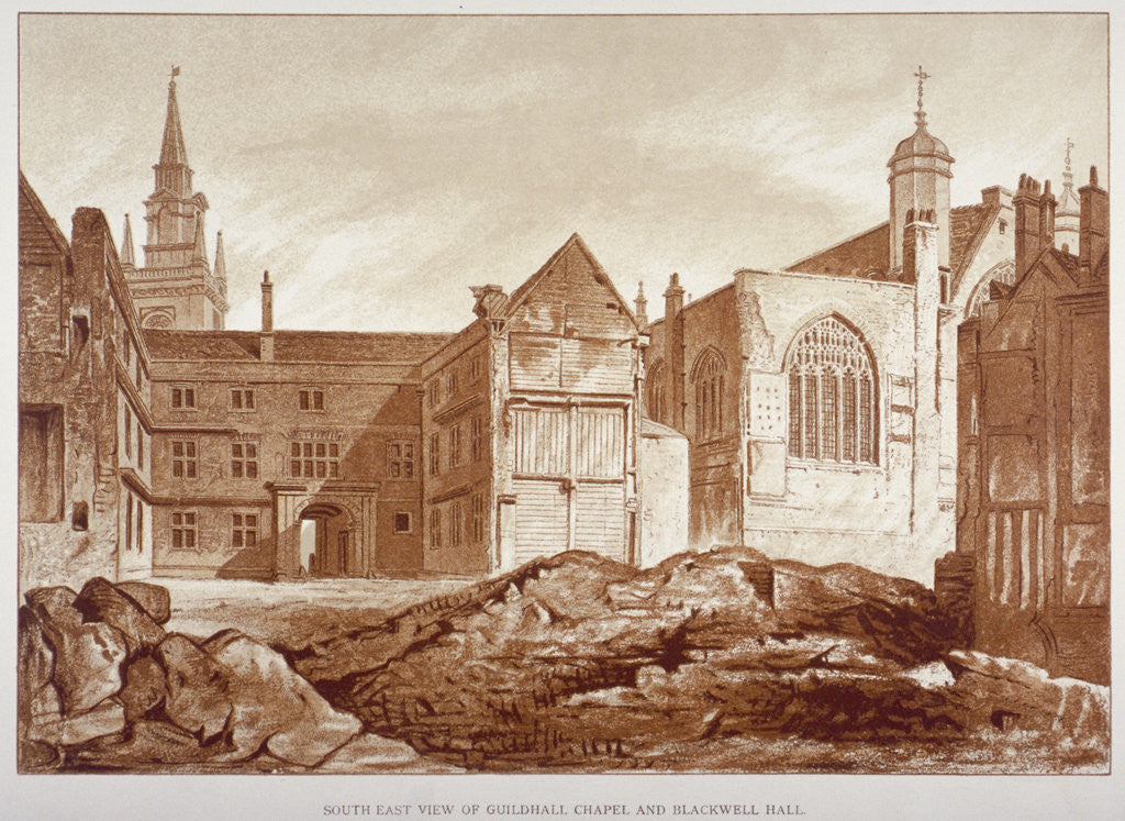 Detail of West view of the Guildhall Chapel and Blackwell Hall, City of London by Anonymous