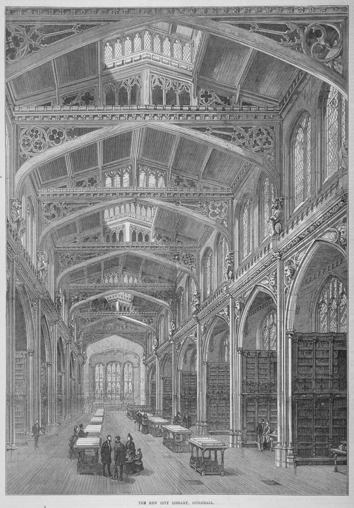 Detail of Interior view of Guildhall Library, City of London by Anonymous