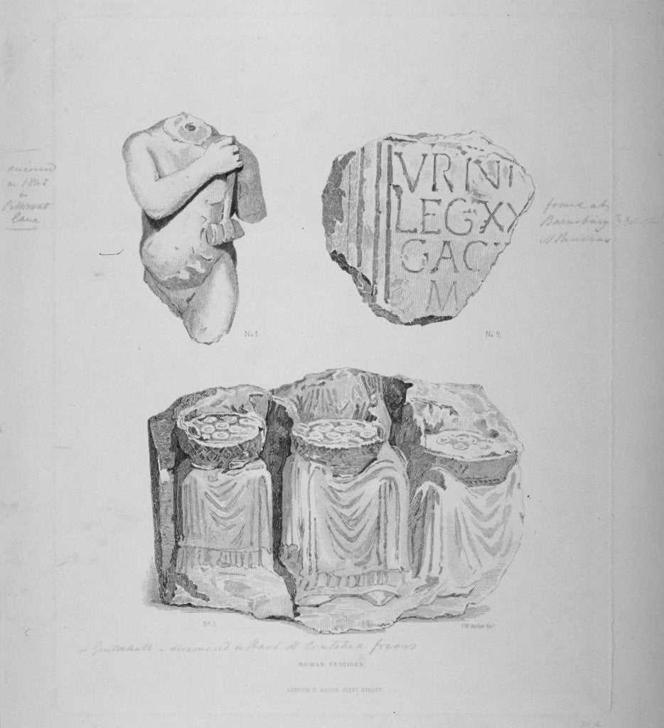 Detail of Remains of two Roman statues and an inscription on stone by John Wykeham Archer