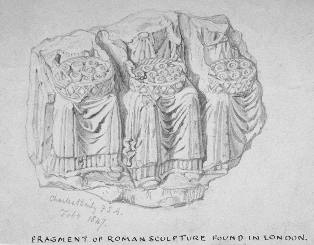 Detail of Fragment of Roman sculpture found in Hart Street, Crutched Friars, City of London by Charles Baily