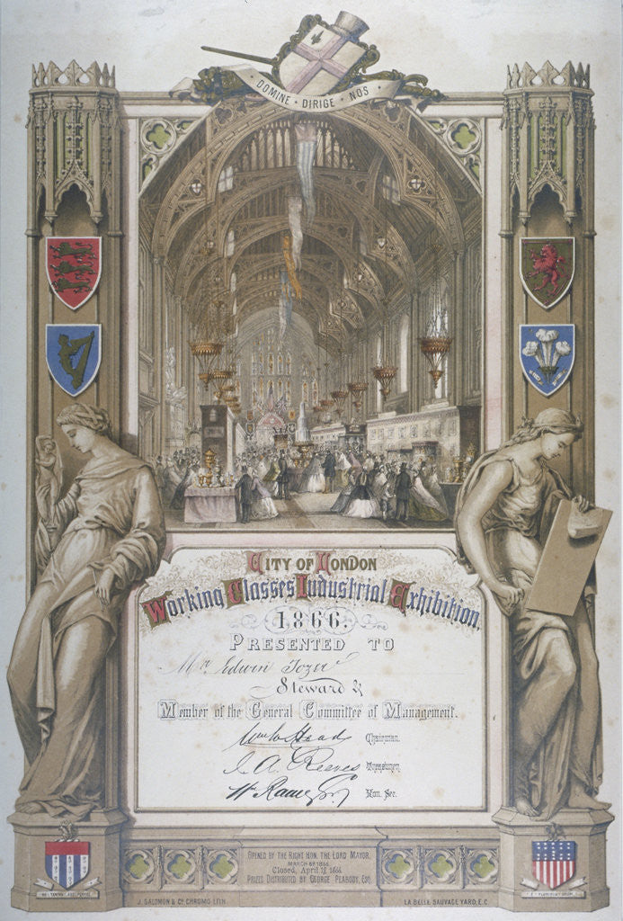 Detail of Certificate presented to stewards at City of London Working Classes Industrial Exhibition by J Salomon & Co