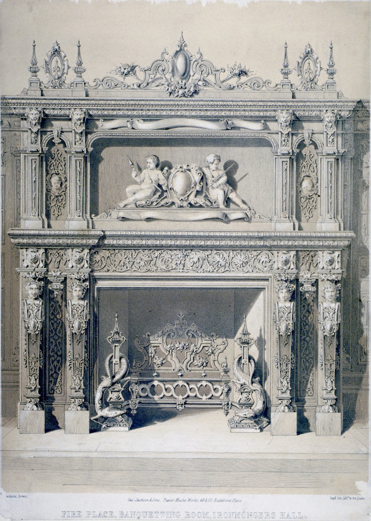 Detail of Fireplace in Ironmongers' Hall, Fenchurch Street, City of London by Day & Son