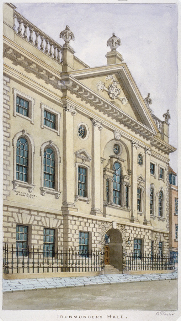 Detail of Ironmongers' Hall, Fenchurch Street, City of London by