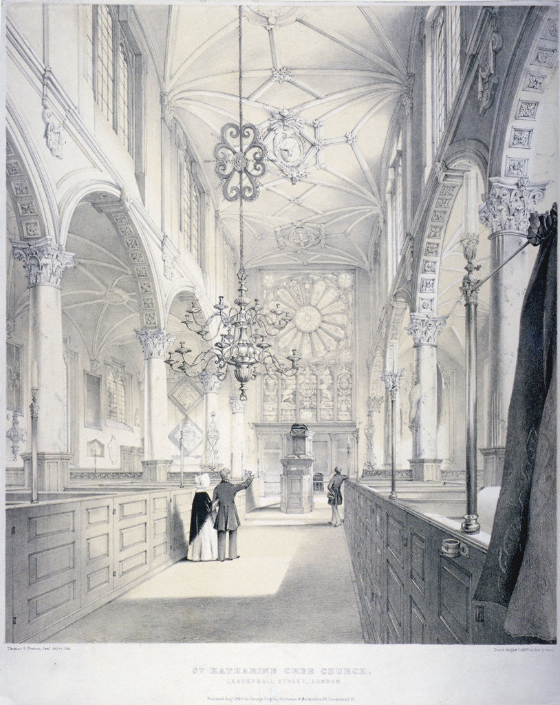 Detail of Interior view of the east end of the Church of St Katherine Cree, City of London by Day & Haghe