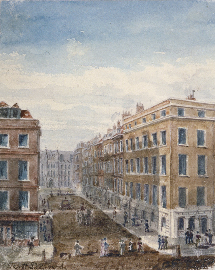 Detail of View of King Street, looking north from Cheapside to the Guildhall, City of London, 1840 by Thomas Hosmer Shepherd