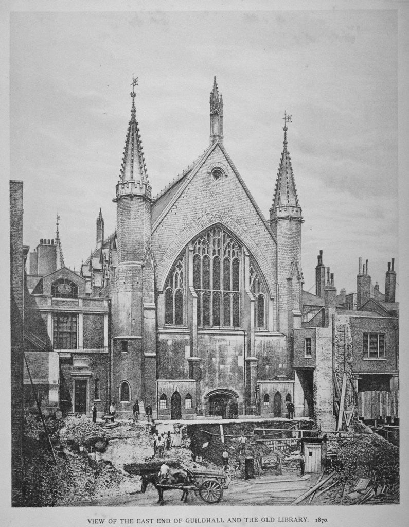 Detail of The east end of the Guildhall and the old Guildhall Library, City of London by