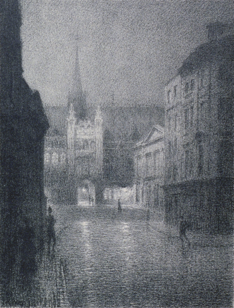 Detail of Nocturnal view of the Guildhall from the corner of Gresham Street, City of London by