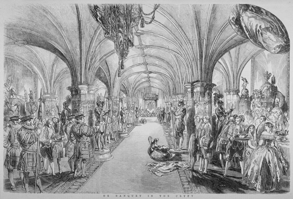 Detail of The Guildhall Crypt on the occasion of a state visit by Queen Victoria, City of London by John Abraham Mason