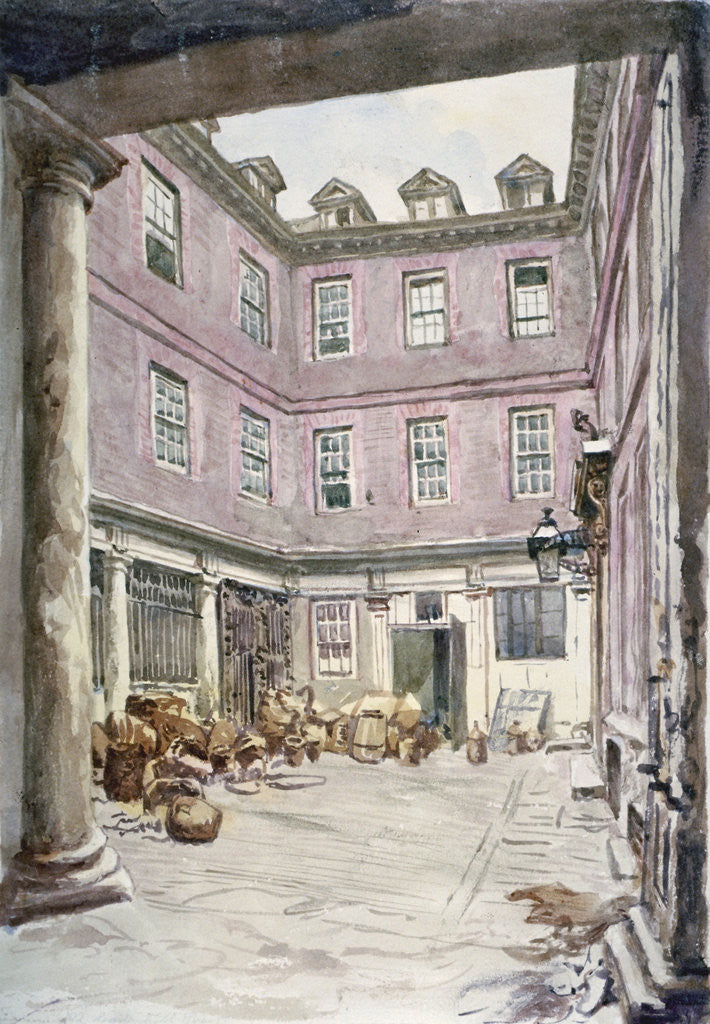 Detail of View of the courtyard of no 102 Leadenhall Street, City of London by John Phillipps Emslie